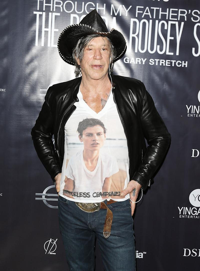 "HOLLYWOOD, CA - DECEMBER 30: Mickey Rourke attends the Los Angeles screening of ""Through My Father's Eyes: The Ronda Rousey Story"" held at TCL Chinese 6 Theatres on December 30, 2016 in Hollywood, California. (Photo by Michael Tran/FilmMagic)"