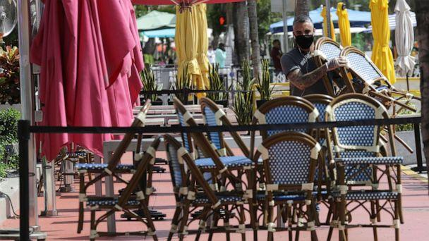 PHOTO: An employee at the Clevelander bar and restaurant on Ocean Drive stacks chairs as they have shut down due to public health concerns caused by COVID-19 during the coronavirus pandemic, July 13, 2020, in Miami Beach, Fla. (Lynne Sladky/AP)