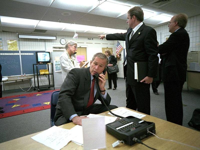 President George Bush on the telephone as the second plane hit the Twin Towers in New York (George W Bush Llibrary)
