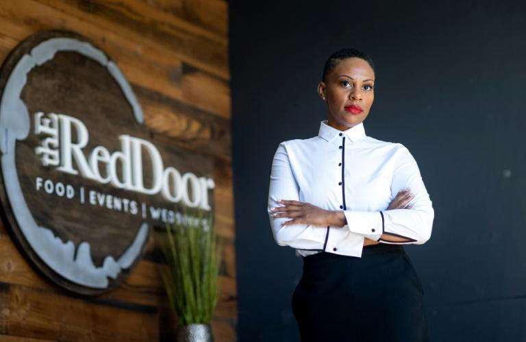 Reign Free, founder and CEO of The Red Door Group catering company, photographed at her office in Oakland, California on February 12, 2021