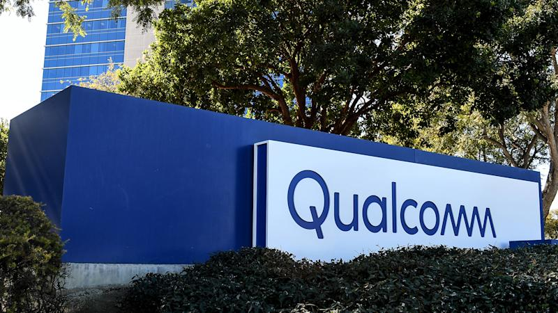 The Qualcomm logo on a sign on its campus.
