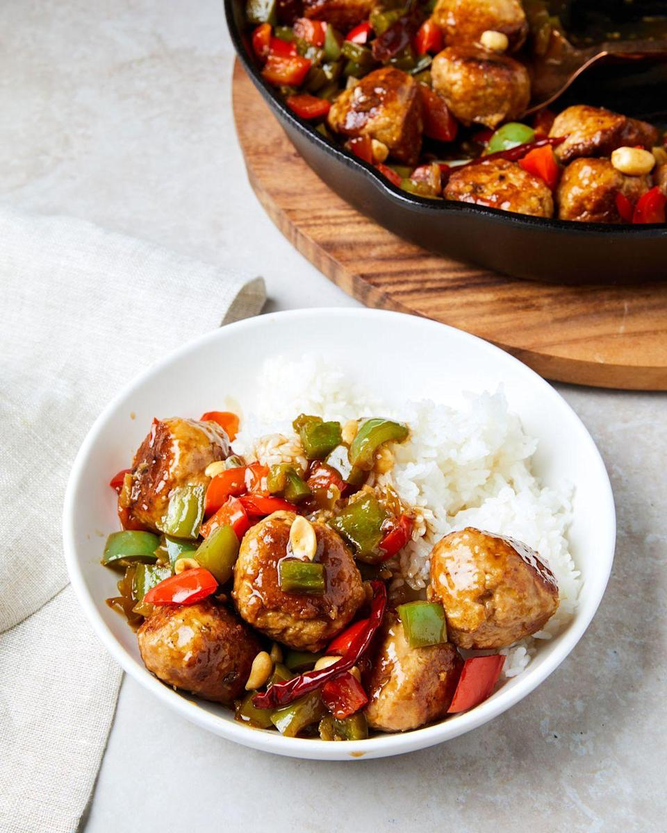 """<p>These chicken meatballs have a kick from a traditional <a href=""""https://www.delish.com/cooking/recipe-ideas/recipes/a57880/kung-pao-brussels-sprouts-recipe/"""" rel=""""nofollow noopener"""" target=""""_blank"""" data-ylk=""""slk:kung pao sauce"""" class=""""link rapid-noclick-resp"""">kung pao sauce</a> that gets most of its heat from dried red chilis, which you can always cut back on. </p><p>Get the recipe from <a href=""""https://www.delish.com/cooking/recipe-ideas/a35195944/kung-pao-chicken-meatballs-recipe/"""" rel=""""nofollow noopener"""" target=""""_blank"""" data-ylk=""""slk:Delish"""" class=""""link rapid-noclick-resp"""">Delish</a>.</p>"""