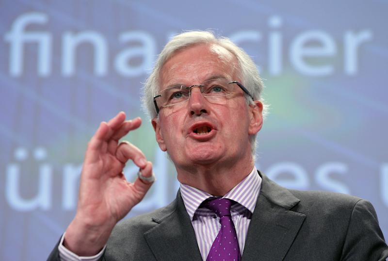 European Commissioner for Internal Market and Services Michel Barnier addresses the media on a new framework for bank recovery and resolution, at the European Commission headquarters in Brussels, Wednesday, June 6, 2012. (AP Photo/Yves Logghe)