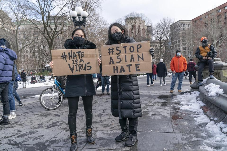 NEW YORK, UNITED STATES - 2021/02/20: More than 200 people gathered on Washington Square Park to rally in support Aisian community, against hate crime and white nationalism. Rally was organized by loosely decentralized movements of ANTIFA (anti-fascist) and Abolitionist Community. In the wake of COVID-19 pandemic there was a big spike in hate crimes against people of Asian descent. (Photo by Lev Radin/Pacific Press/LightRocket via Getty Images)