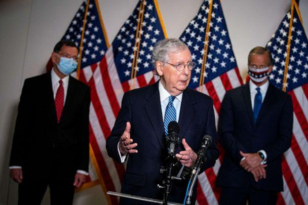 PHOTO: Senate Majority Leader Mitch McConnell, R-Ky., speaks to reporters after the Senate Republican luncheon on Capitol Hill, in Washington, D.C., Sept. 15, 2020. (Alexander Drago/Reuters)