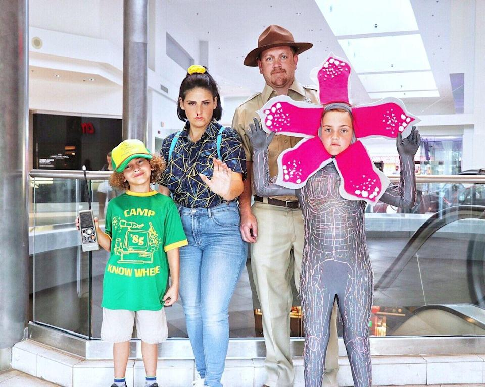 """<p>If watching <em>Stranger Things</em> is a family affair, then consider this group costume inspired by the show. Follow the tutorial to go as Eleven, Chief Hopper, Dustin, and the Demogorgon.</p><p><strong>See more at <a href=""""https://fabeveryday.com/2019/10/diy-stranger-things-3-family-halloween-costumes.html"""" rel=""""nofollow noopener"""" target=""""_blank"""" data-ylk=""""slk:Fab Everyday"""" class=""""link rapid-noclick-resp"""">Fab Everyday</a>. </strong></p><p><a class=""""link rapid-noclick-resp"""" href=""""https://www.amazon.com/gp/product/B00EVY8D64/ref=as_li_ss_tl?tag=syn-yahoo-20&ascsubtag=%5Bartid%7C2164.g.32645069%5Bsrc%7Cyahoo-us"""" rel=""""nofollow noopener"""" target=""""_blank"""" data-ylk=""""slk:SHOP SUSPENDERS"""">SHOP SUSPENDERS</a></p>"""