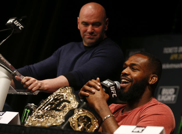 Dana White, left, has discussed the idea of a fight between Jon Jones (right) and Brock Lesnar. (Getty)