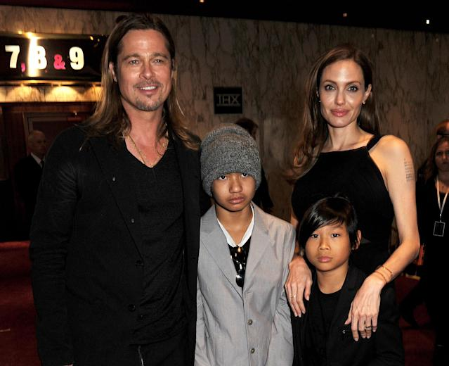 <p>There was big gap between red carpets. Some nine years later is when Angelina and Brad brought Maddox and Pax to the London premiere of his <em>World War Z</em> in June 2013. (Photo: Getty Images) </p>