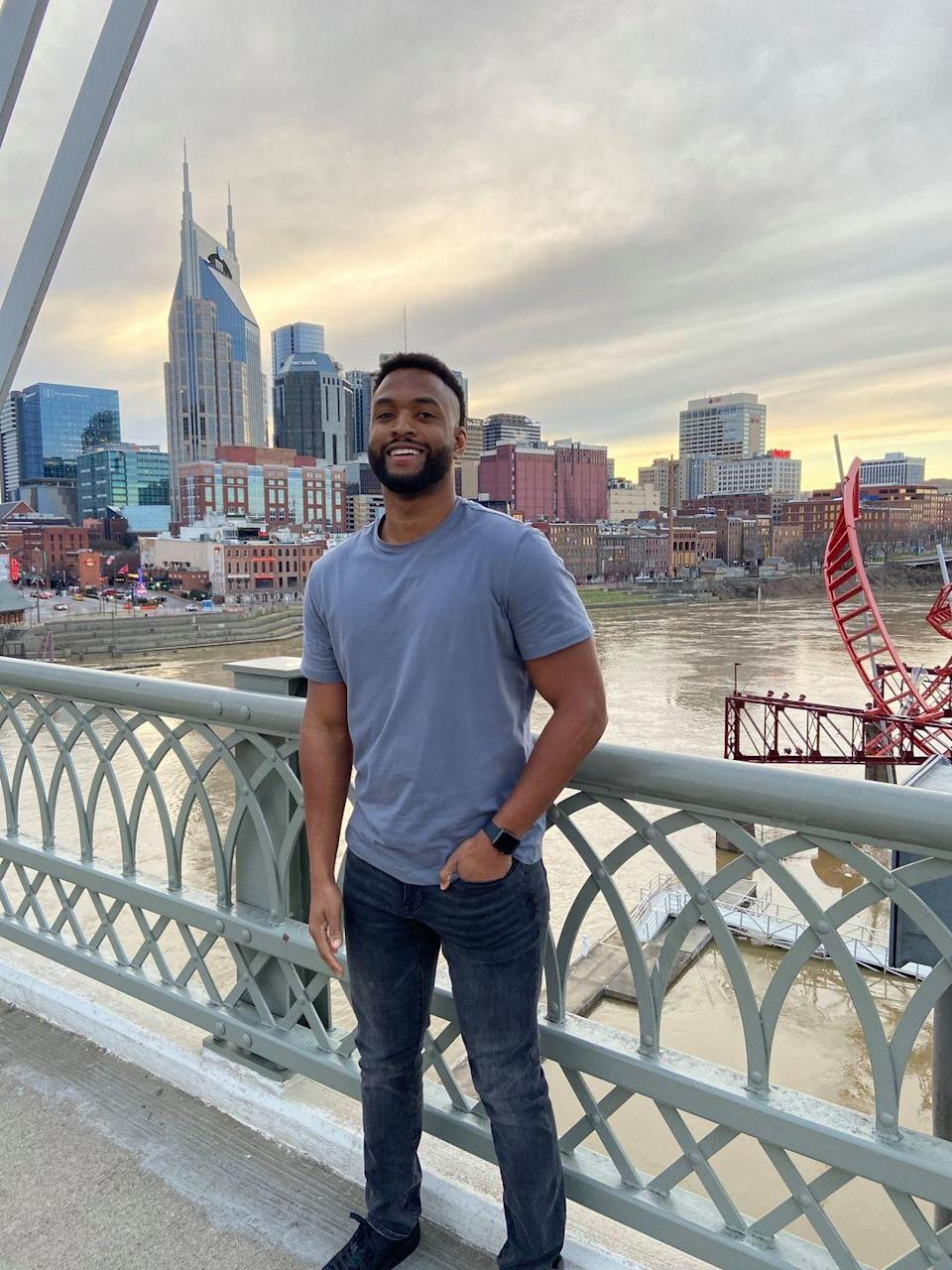 """<p>Don't let the background fool you, David is from New York but lives in Nashville these days. He works as a technical product specialist for Dell.</p><p><strong>Age: 27</strong></p><p><strong>Hometown: New York, NY</strong></p><p><strong>Instagram: <a href=""""https://www.instagram.com/dscott530/"""" rel=""""nofollow noopener"""" target=""""_blank"""" data-ylk=""""slk:@dscott530"""" class=""""link rapid-noclick-resp"""">@dscott530</a></strong></p>"""