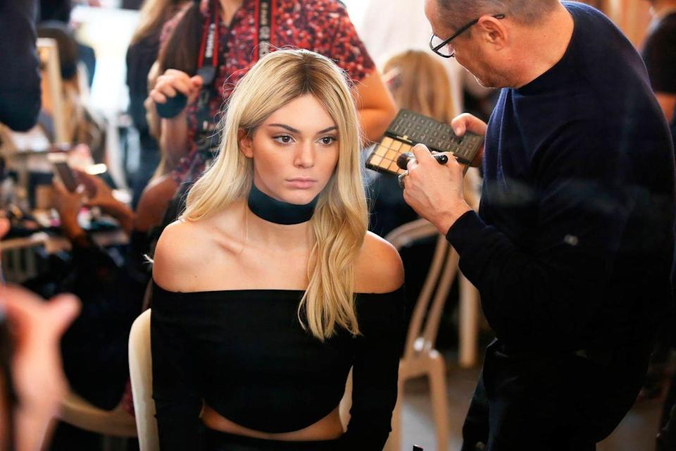<p>Kendall Jenner backstage at the Balmain show during Paris Fashion Week, March 2016.</p>