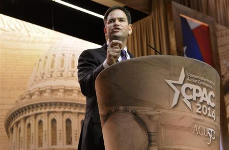 U.S. Sen. Marco Rubio (R-FL) makes remarks to the Conservative Political Action Conference (CPAC) in Oxon Hill, Maryland, March 6, 2014. REUTERS/Mike Theiler