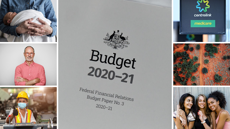 Man holding baby (Left top), old man folding his arms (Left middle), young female tradie (left bottom), Budget 2020-21 papers (middle), Centrelink sign (right top), regional Australian road (right middle), three young multicultural women holding eachother (right bottom). Source: Getty