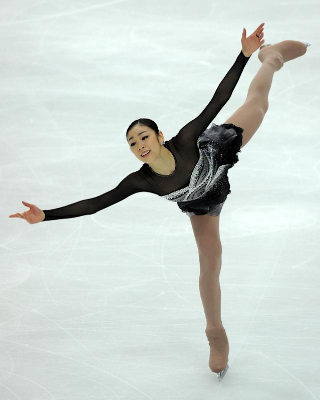 Korea's Yuna Kim performs during the ladies's free skating event of the ISU World Figure Skating Championships on April 30, 2011 in Moscow. AFP PHOTO / YURI KADOBNOV (Photo credit should read YURI KADOBNOV/AFP/Getty Images)