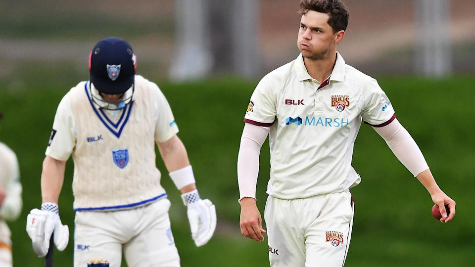 Mitchell Swepson, pictured here in action for Queensland in the Sheffield Shield.