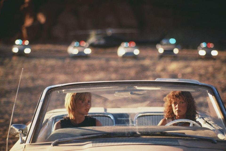 <p>Directed by Ridley Scott and written by Callie Khouri, <em>Thelma & Louise</em> starred Geena Davis and Susan Sarandon as best friends on the run from the law, which premiered in 1991. This movie inspired a slew of other films and is considered a classic and one of the great feminist films in Hollywood history. </p>