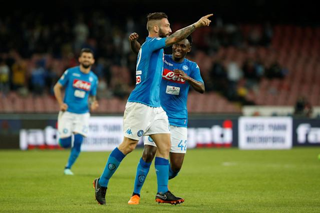 Soccer Football - Serie A - Napoli vs Udinese Calcio - Stadio San Paolo, Naples, Italy - April 18, 2018 Napoli's Lorenzo Tonelli celebrates scoring their fourth goal with Amadou Diawara REUTERS/Ciro De Luca