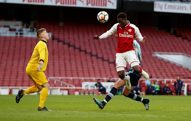 Soccer Football - FA Youth Cup Semi Final Second Leg - Arsenal vs Blackpool - Emirates Stadium, London, Britain - April 16, 2018 Arsenal's Fol Balogun scores their first goal Action Images/Matthew Childs