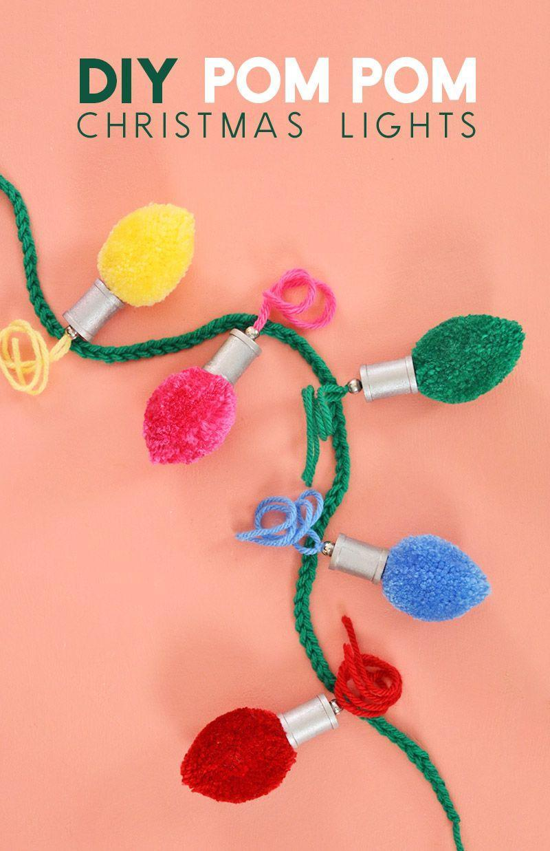 """<p>With the help of a pom-pom maker, you can craft this holiday light-inspired strand in a flash. </p><p><a href=""""https://persialou.com/diy-christmas-light-pom-poms/"""" rel=""""nofollow noopener"""" target=""""_blank"""" data-ylk=""""slk:Get the tutorial."""" class=""""link rapid-noclick-resp"""">Get the tutorial.</a></p><p><a class=""""link rapid-noclick-resp"""" href=""""https://www.amazon.com/Clover-3129-Maker-Multiple-Pack/dp/B07R187DT2?tag=syn-yahoo-20&ascsubtag=%5Bartid%7C10072.g.37499128%5Bsrc%7Cyahoo-us"""" rel=""""nofollow noopener"""" target=""""_blank"""" data-ylk=""""slk:SHOP POM-POM MAKER"""">SHOP POM-POM MAKER</a></p>"""