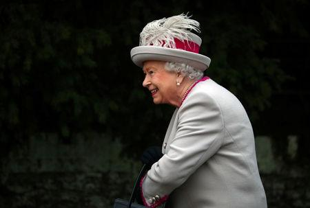 Britain's Queen Elizabeth arrives at St Mary Magdalene's church for the Royal Family's Christmas Day service on the Sandringham estate in eastern England