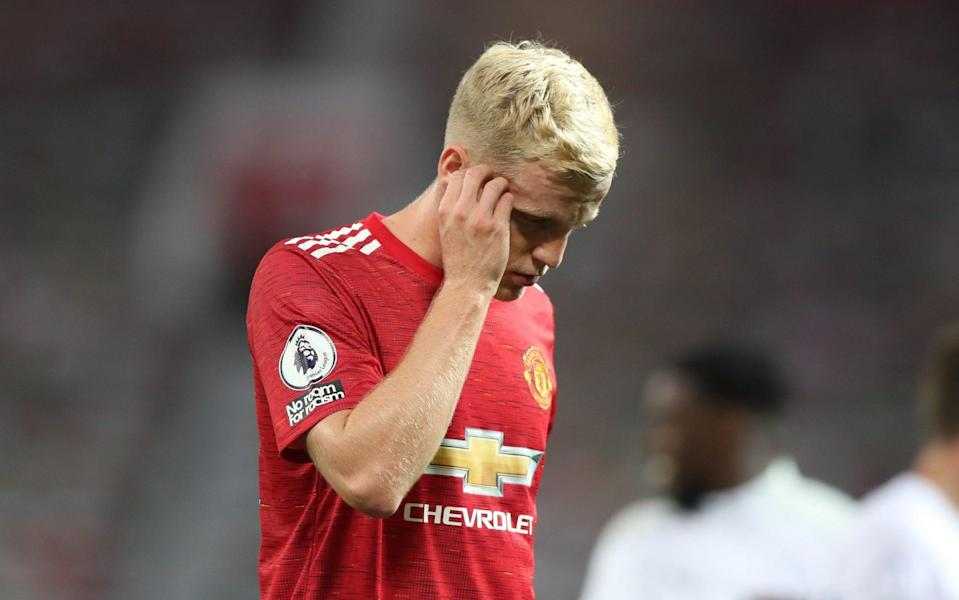 Donny van de Beek is not the only one scratching his head at his not making the starting line-up for Manchester United - POOL