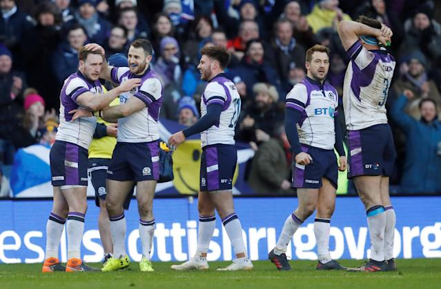 Rugby Union - Six Nations Championship - Scotland vs France - BT Murrayfield, Edinburgh, Britain - February 11, 2018 Scotland's Greig Laidlaw (2nd R) and team mates celebrate after the match REUTERS/Russell Cheyne