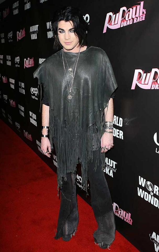 """14. """"American Idol"""" alum Adam Lambert -- in a fringed poncho and excessive amount of chintzy-looking accessories -- at the """"RuPaul's Drag Race"""" Season 3 premiere in West Hollywood. (01/18/2011)"""