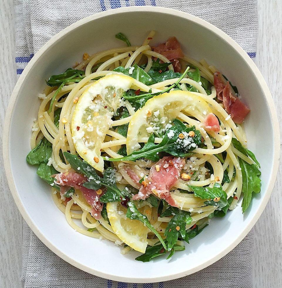 """<p>This spaghetti is crazy delicious and totally idiot-proof. Win-win.</p><p>Get the recipe from <a href=""""https://www.delish.com/cooking/recipe-ideas/recipes/a43062/best-spaghetti-lemon-recipe/"""" rel=""""nofollow noopener"""" target=""""_blank"""" data-ylk=""""slk:Delish"""" class=""""link rapid-noclick-resp"""">Delish</a>.</p>"""