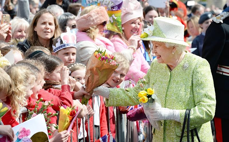 Britains Queen Elizabeth Ii Greets Wellwishers On Her Th Birthday During A Walkabout In Windsor On