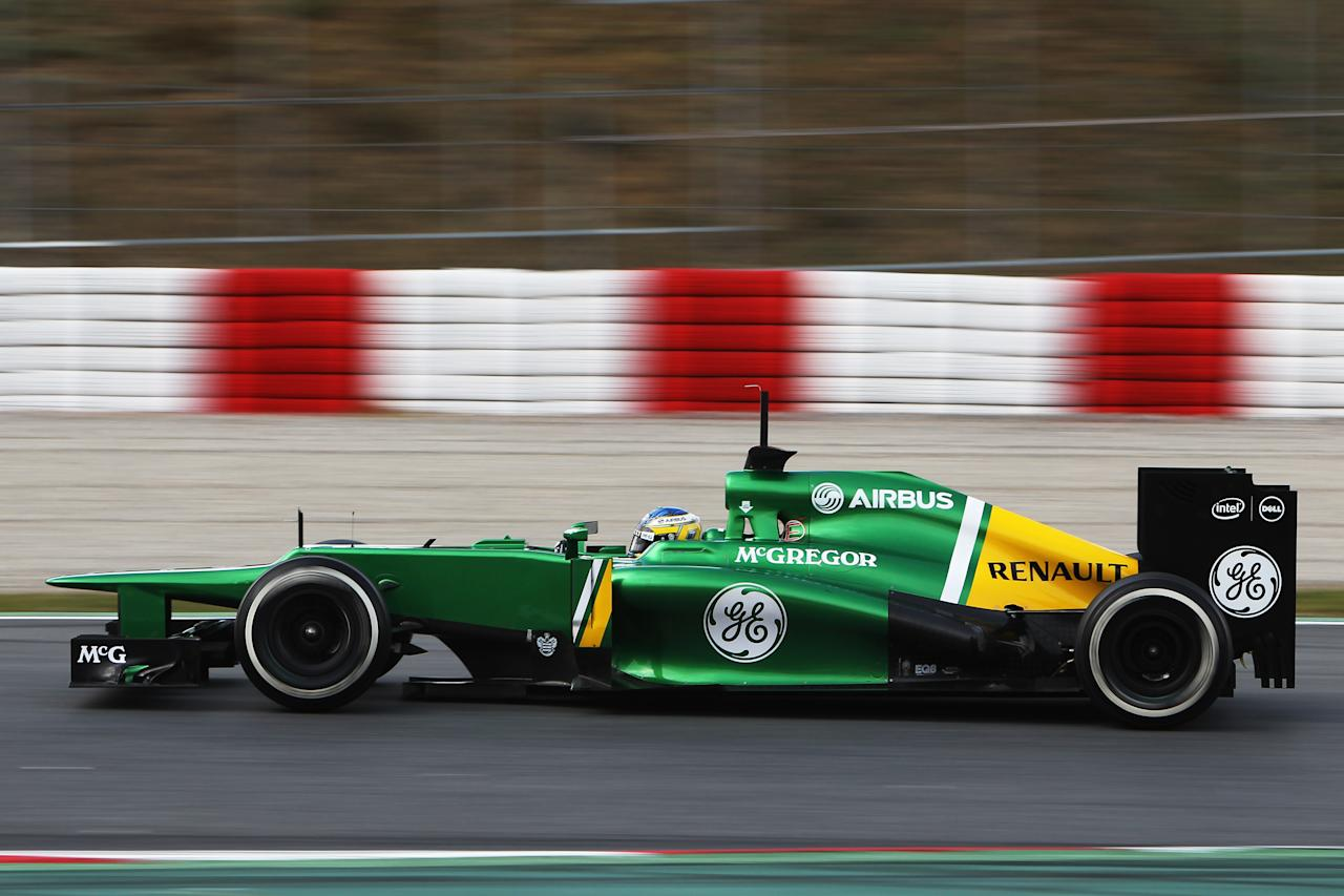 MONTMELO, SPAIN - FEBRUARY 28:  Charles Pic of France and Caterham drives during day one of Formula One winter test at the Circuit de Catalunya on February 28, 2013 in Montmelo, Spain.  (Photo by Ker Robertson/Getty Images)