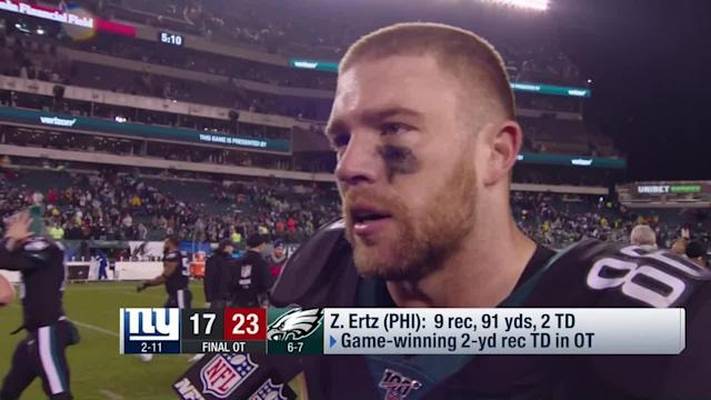 """NFL Network's Mike Garafolo catches up with Philadelphia Eagles tight end Zach Ertz to talk about his team's win over the New York Giants on """"Monday Night Football"""" in Week 14."""