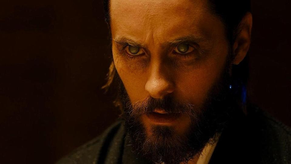 Jared Leto with a beard looking stern in Blade Runner 2049