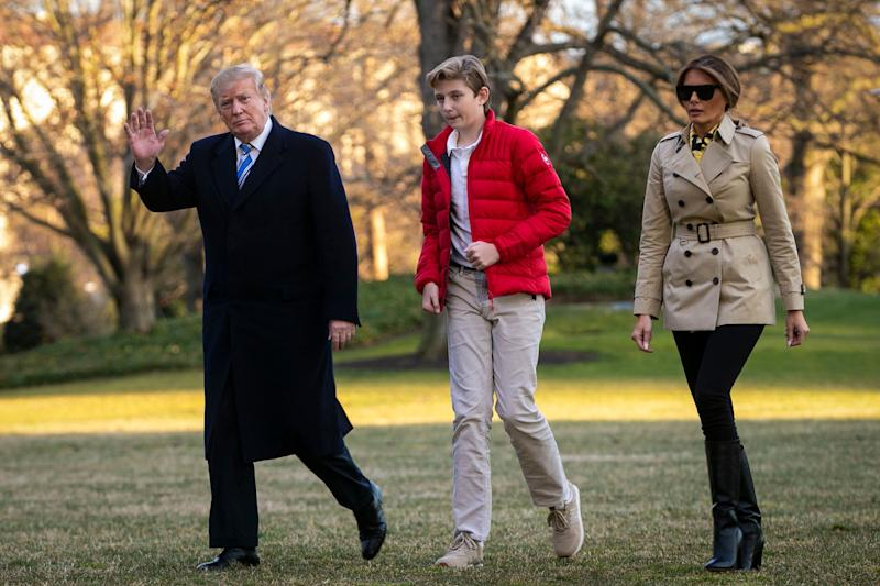President Donald Trump, first lady Melania Trump, and their son Barron Trump, arrive on the South Lawn of the White House in March 2019 [Photo: Getty]