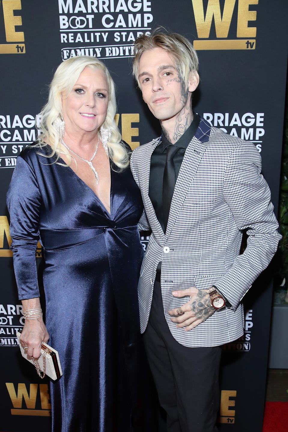 """WEST HOLLYWOOD, CALIFORNIA - OCTOBER 10: Jane Carter and Aaron Carter attend WE tv Celebrates the 100th Episode of the """"Marriage Boot Camp"""" reality stars franchise and the premiere of """"Marriage Boot Camp Family Edition"""" at SkyBar at the Mondrian Los Angeles on October 10, 2019 in West Hollywood, California. (Photo by Randy Shropshire/Getty Images for WE tv )"""