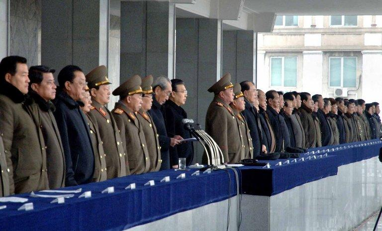 Senior officials attend a rally to celebrate a successful nuclear test in Pyongyang, February 14, 2013