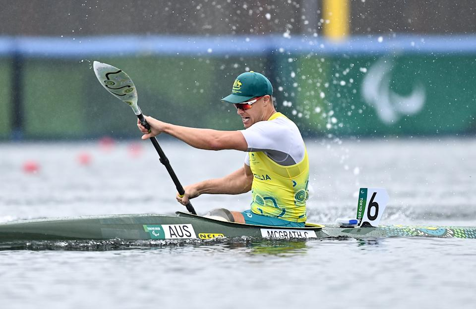 Pictured here, Aussie Curtis McGrath wins the men's KL2 200 metre sprint final at the Paralympics in Tokyo.