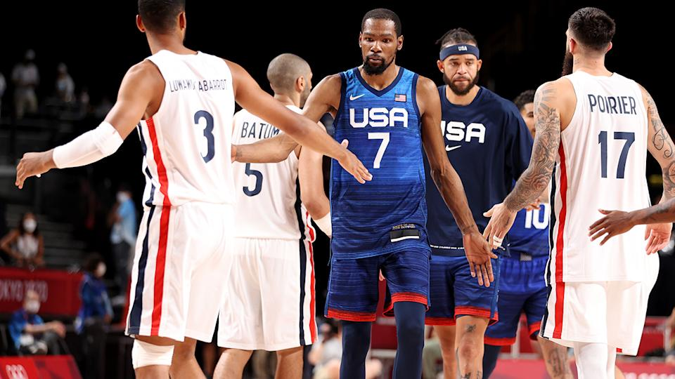 Kevin Durant, pictured here after Team USA's loss to France at the Olympics.