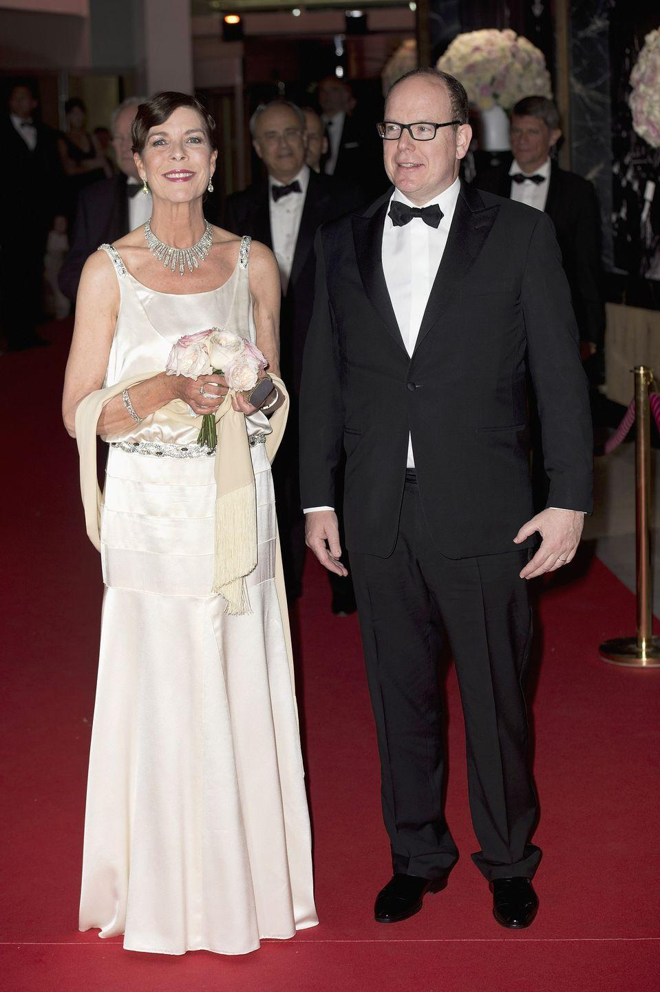 <p>Princess Caroline wore the Diamond Fringe necklace to Monaco's annual Rose Ball—which benefits the Princess Grace Foundation—in 2015.</p>
