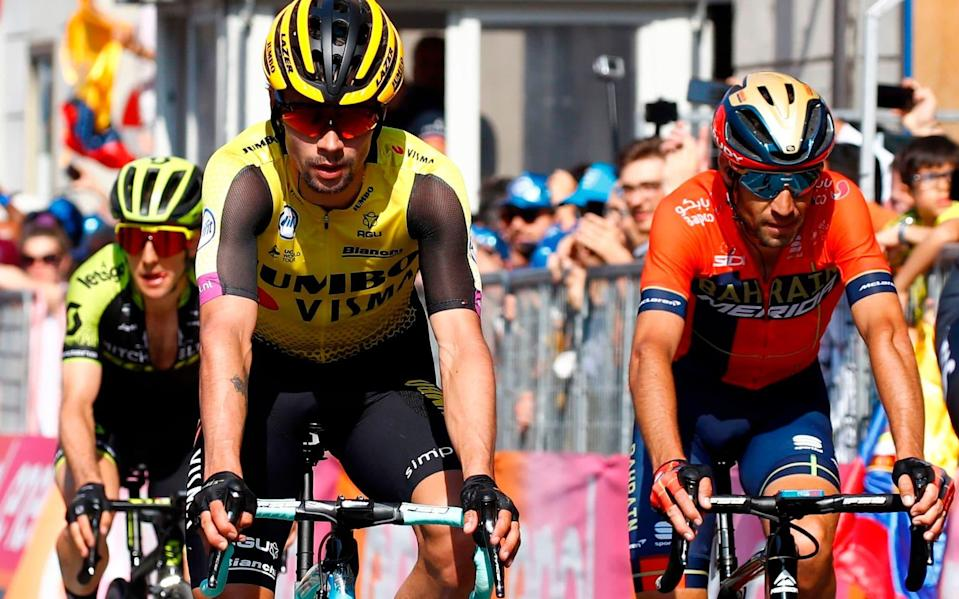 Primoz Roglic (centre) finishes alongside his main rivals, but may have just exposed a slight sign of weakness on the road to Pinerolo - AFP or licensors