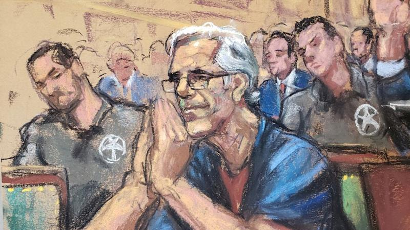 Drawing of Epstein at a a bail hearing for a sex trafficking case.