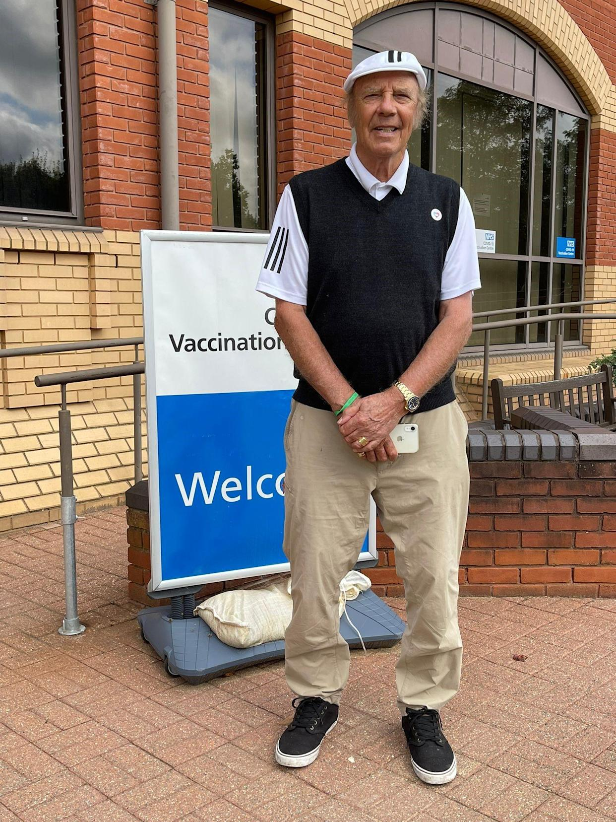 Marty Wilde after having his booster jab (Handout/PA)