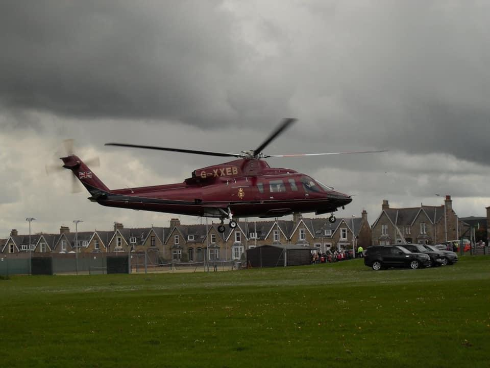 The hotel manager joked about the helicopter being parked 'in front of our house'.(Brackness House Luxury B&B)