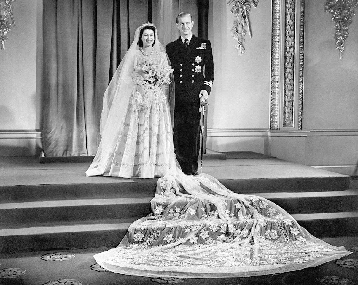<p>Princess Elizabeth and Prince Philip at their wedding on November 20th, 1947. </p>