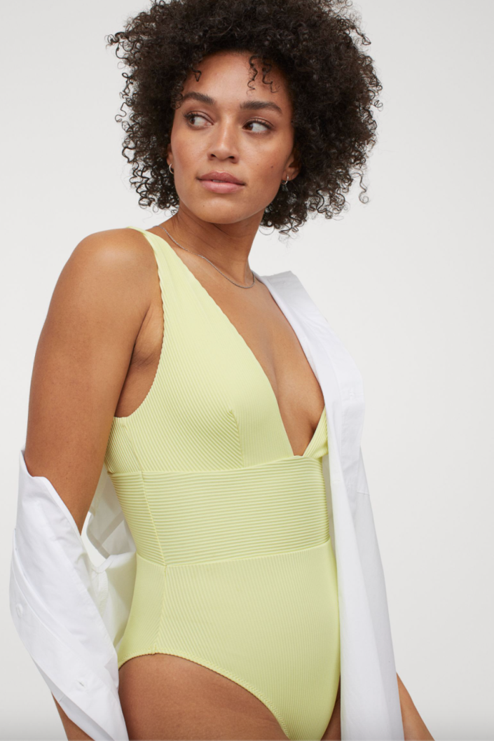 H&M High Leg Ribbed Swimsuit in Pale Neon Yellow (Photo via H&M)