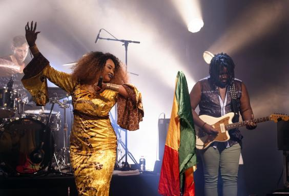Sangaré performs with her band at La Cigalle, Paris, in 2018 (Rex)