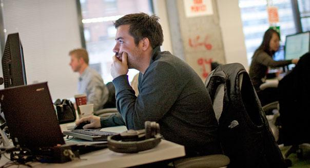 at Facebook Inc.'s office in New York, U.S., on Tuesday, Dec. 20, 2011.