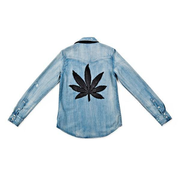 """<p><strong>Jacquie Aiche</strong></p><p>jacquieaiche.com</p><p><strong>$1165.00</strong></p><p><a href=""""https://jacquieaiche.com/collections/sweet-leaf/products/sweet-leaf-denim-shirt"""" target=""""_blank"""">Shop Now</a></p><p>This denim button down hits a high note with a snakeskin leaf patch placed on the back.</p>"""