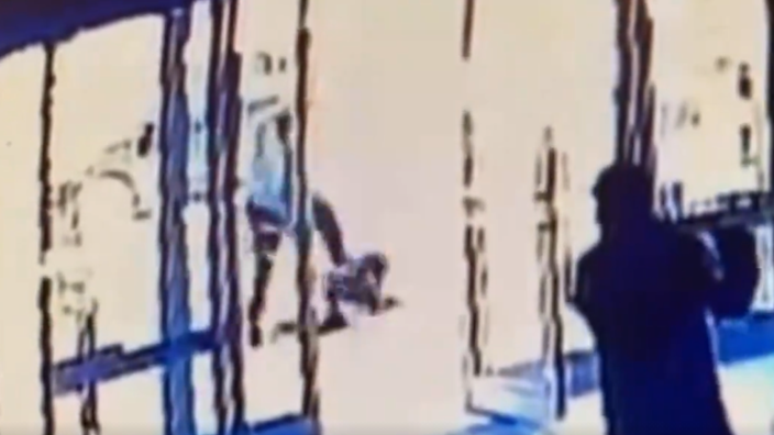 CCTV footage captured a man repeatedly kicking a 66-year-old woman in Manhattan, New York