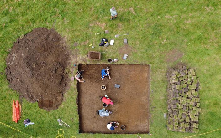 Archaeologists from the University of Reading team struck timber and pottery near the Holy Trinity Church in Cookham