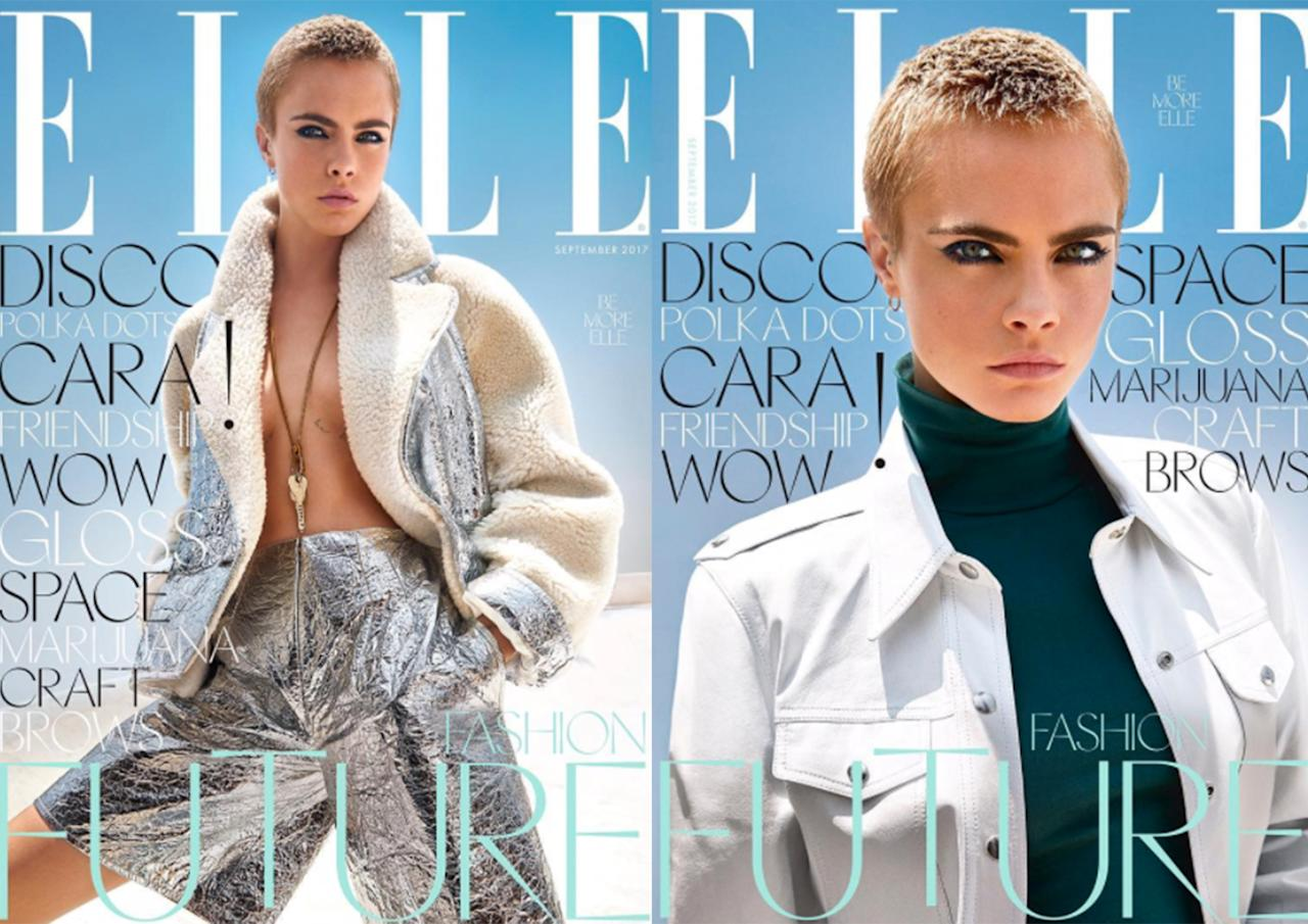 <p><b><b><b>Elle UK turned to model-turned-actress Cara Delevingne for its September issue. The magazine released two newstand covers, showing the Brit in two different get-ups. </b></b></b></p>