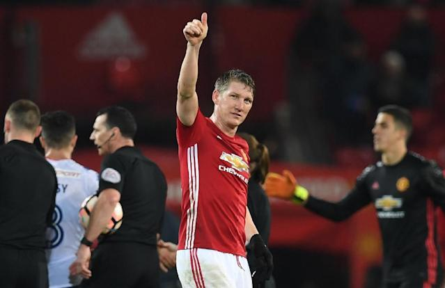 """""""I am grateful to the club for allowing me the chance to take up the challenge at Chicago Fire,"""" Schweinsteiger said of Manchester United (AFP Photo/Paul ELLIS)"""
